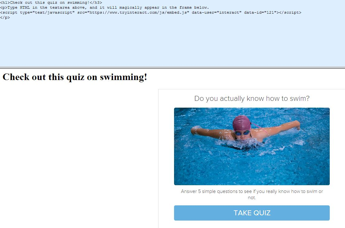swimming quiz