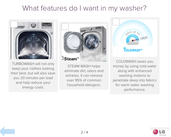 Washer features