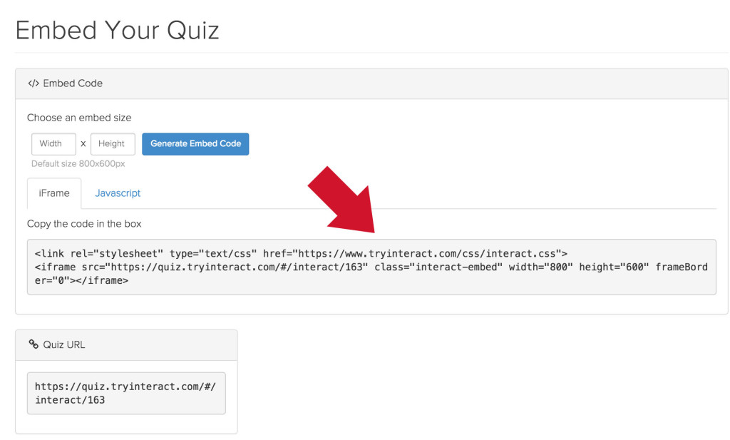 interact quiz embed code