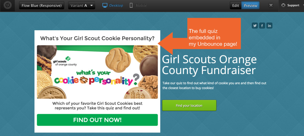 unbounce landing page with quiz