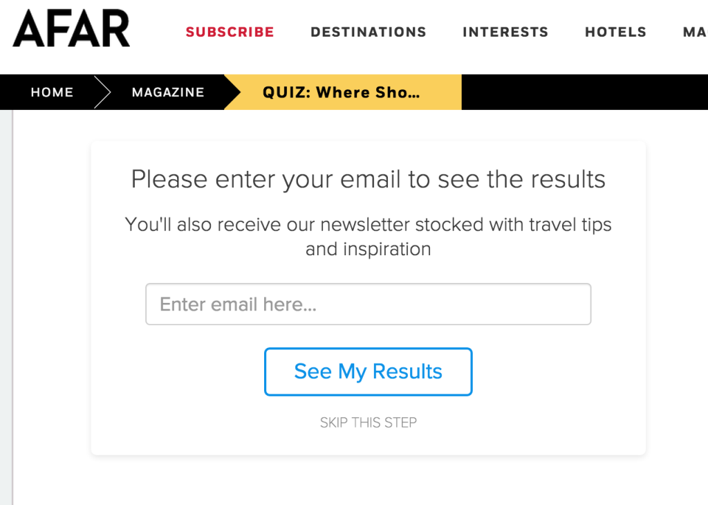 travel quiz email capture form