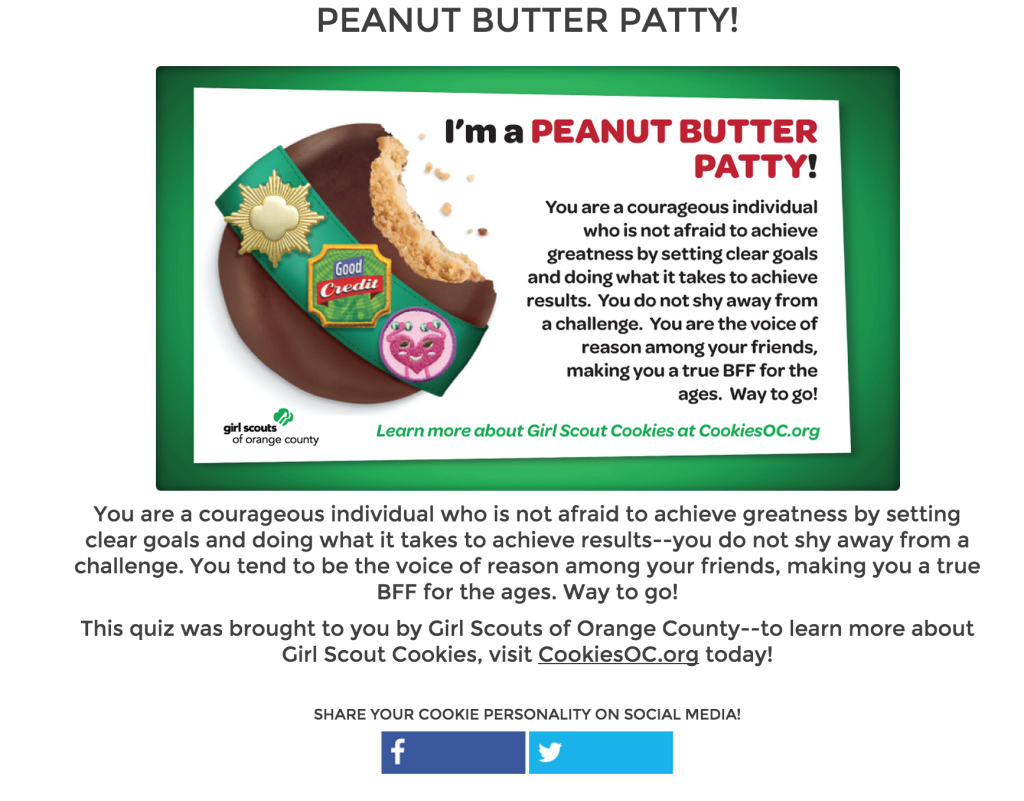 girl scout cookies quiz result