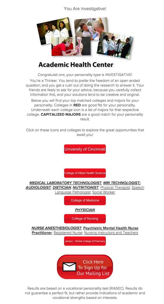 University of Cincinnati quiz lead generation