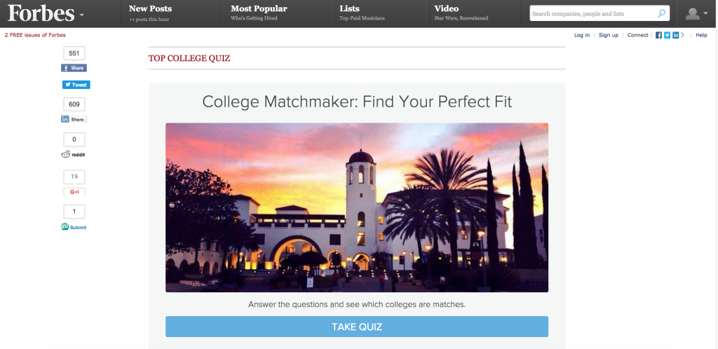 forbes college matchmaker quiz