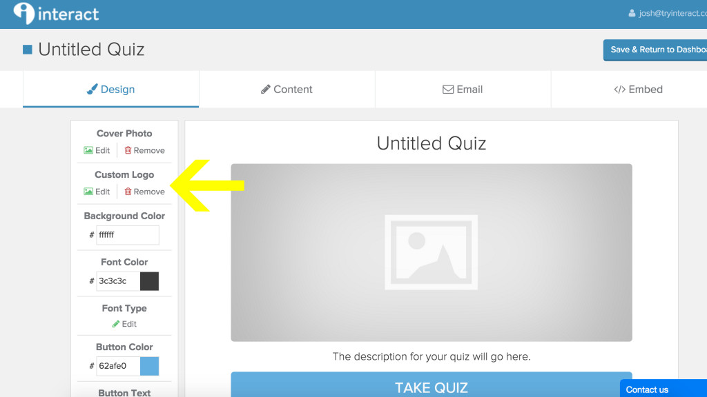 add custom logo to quiz