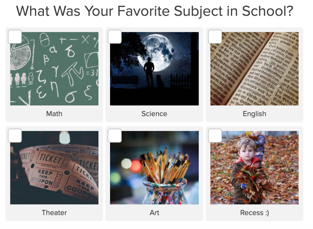 quiz question what was your favorite subject in school?