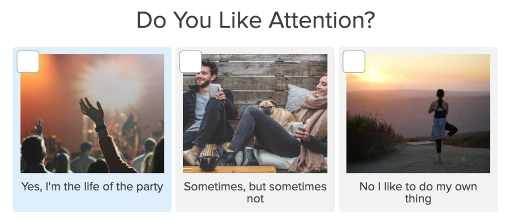 quiz question do you like attention?