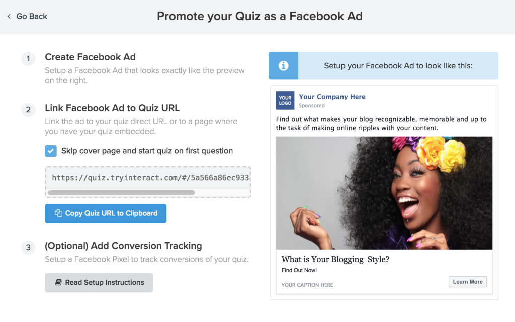 how to create a free facebook quiz