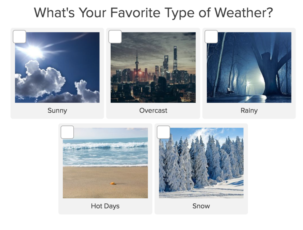 quiz question what is your favorite type of weather