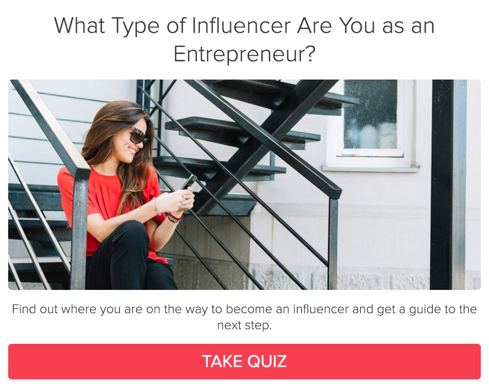 woman sitting on stairs looking at her phone with What Type of Influencer Are You as an Entrepreneur? and take quiz button