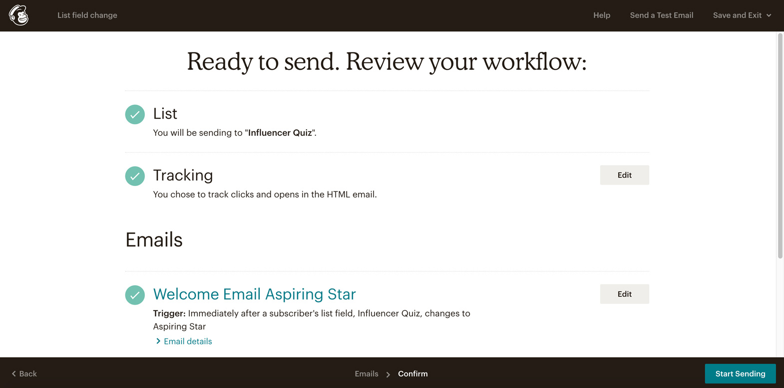 screenshot showing how completed series looks in Mailchimp that's ready to send