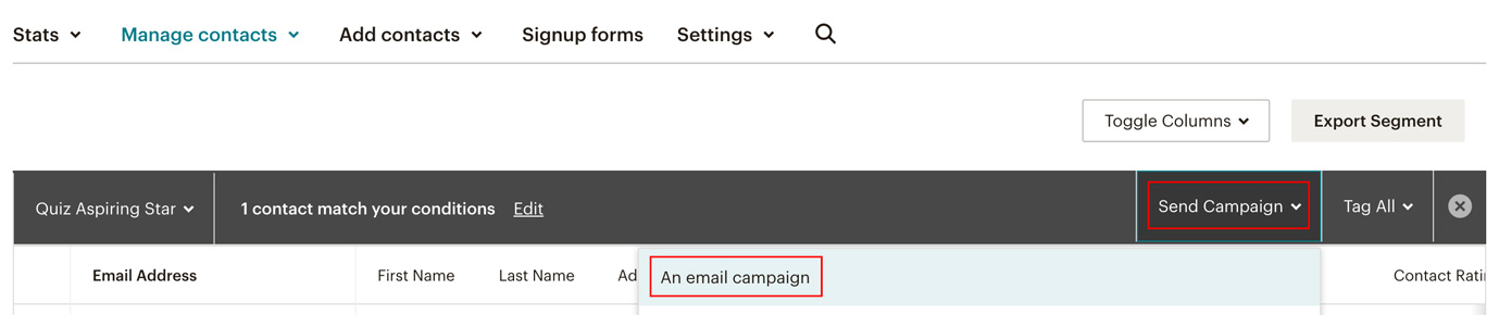 Screenshot showing where to start an email campaign