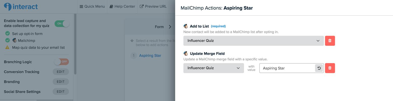 MailChimp Actions Aspiring Star