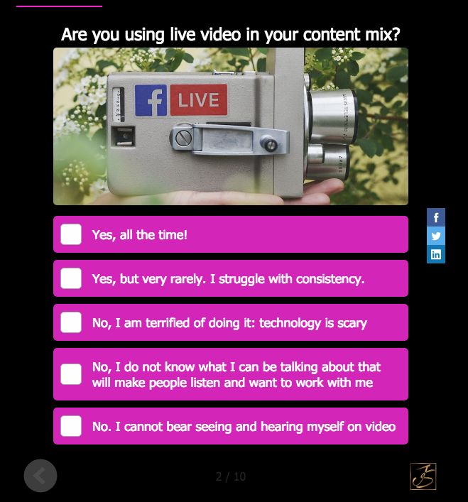 image of video camera and quiz question and questions