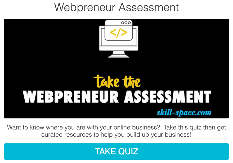 black background with computer icon and take the Webpreneur assessment and take quiz button