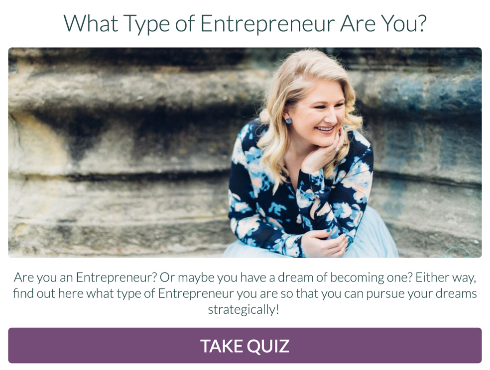 woman next to fountain with what type of entrepreneur are you and take quiz