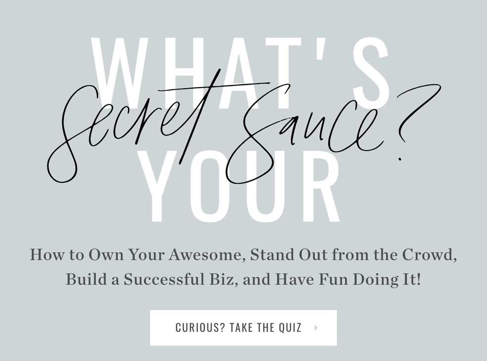 blue grey background with what's your secret sauce? and Take Quiz button