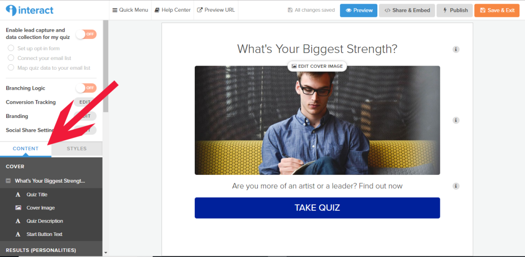 Interact quiz builder with arrow pointing to Content section of Quiz menu highlighted