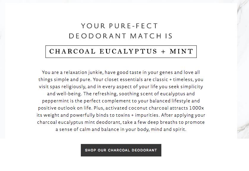 quiz result for deodorant scent quiz with description and button to shop deodorants