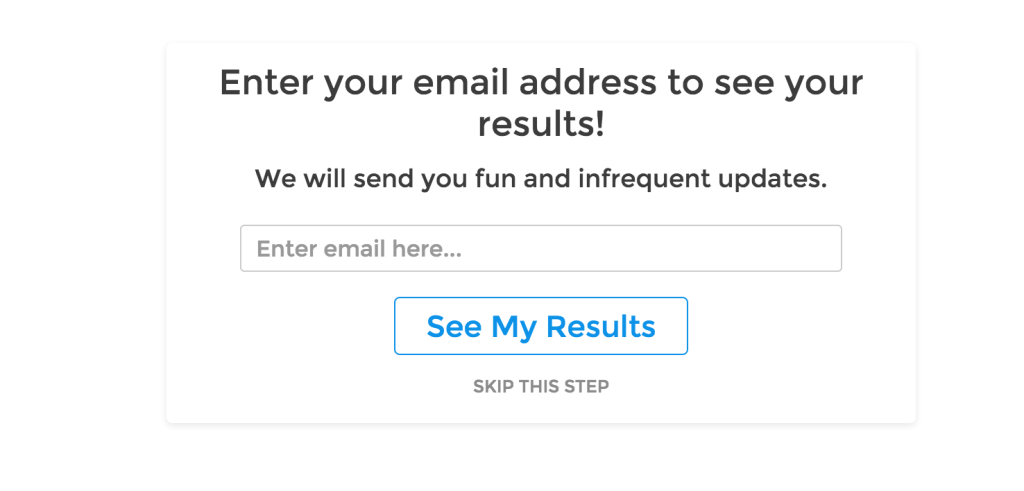 email optin explaining there will be fun and infrequent updates
