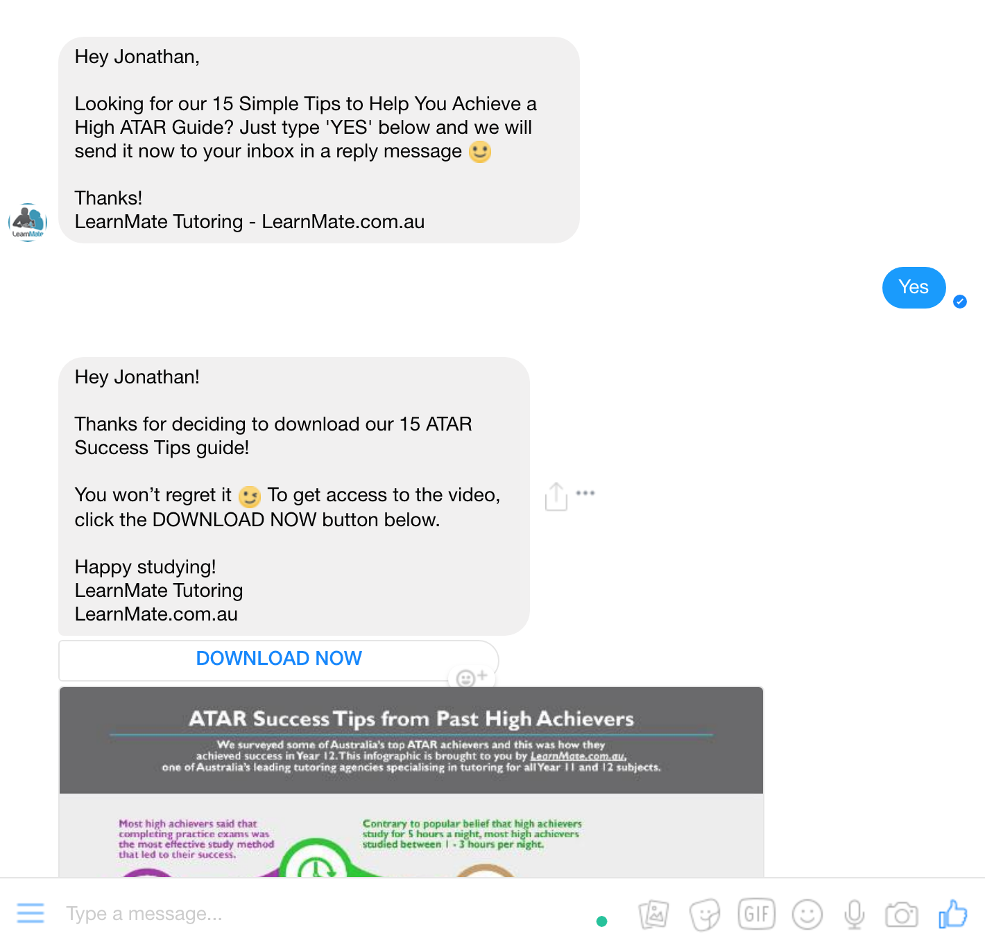 tutoring chatbot offering tips to engage potential client