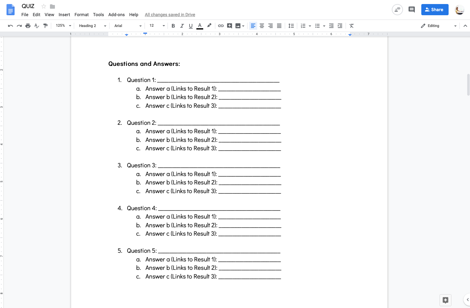 Google doc quiz template with question and answer layout