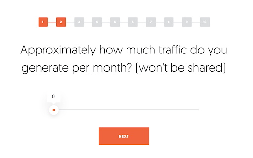 quiz question from neil patel on how much traffic you receive and a slider to answer
