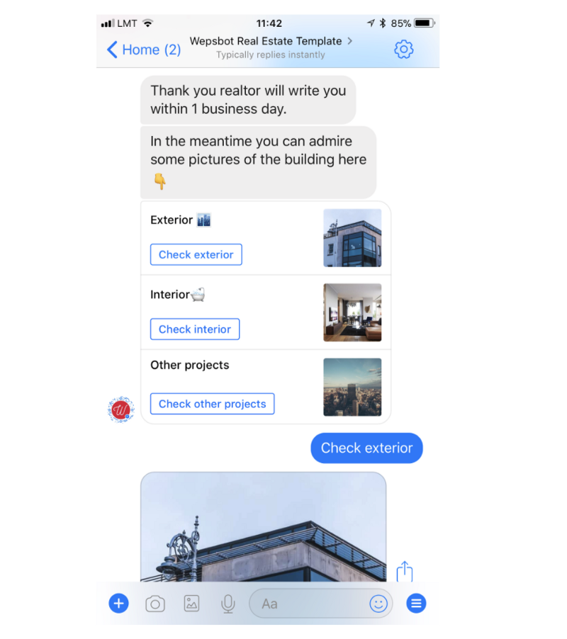 realtor chatbot with property recommendations and images for potential clients