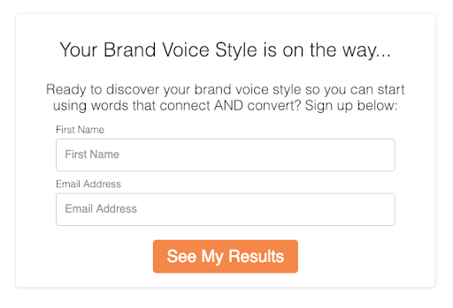Optin page for your brand voice style quiz to enter name and email