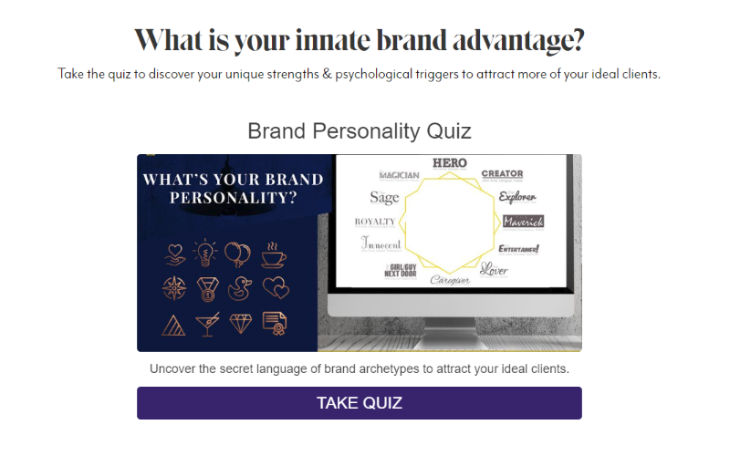 Quiz cover for What is your innate brand advantage with a computer screen with brand types