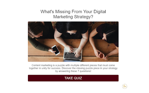 quiz cover with three women working on a laptop and What's missing from your digital marketing strategy