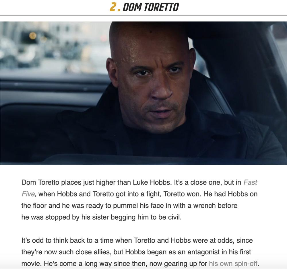 man sitting in car with description of Dom Toretto from Fast and Furious