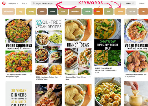 Pinterest search results with arrows pointing to the keyword and long tail keywords at the top