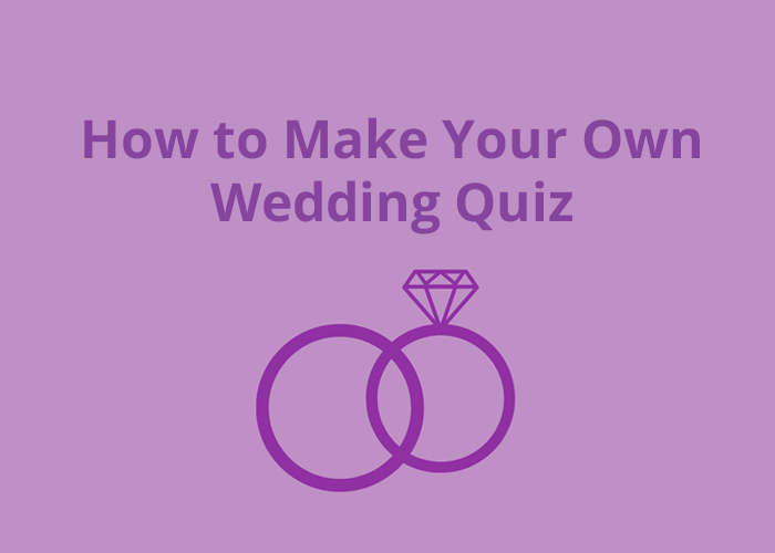 purple background with wedding ring icon and How to make your own wedding quiz