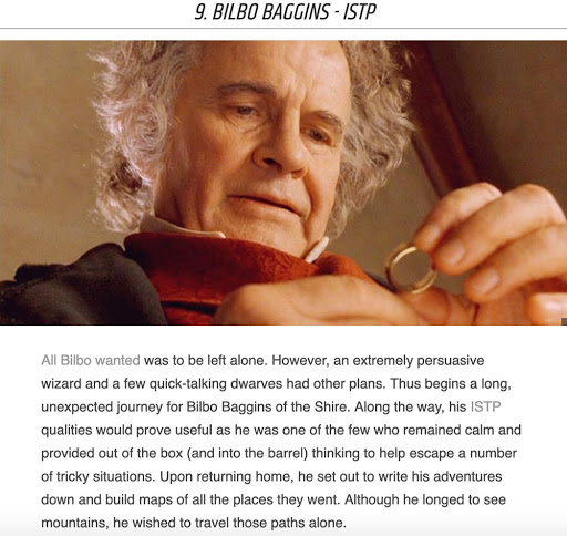 Hobbit holding ring from Lord of the Rings movie and a description of Bilbo Baggins