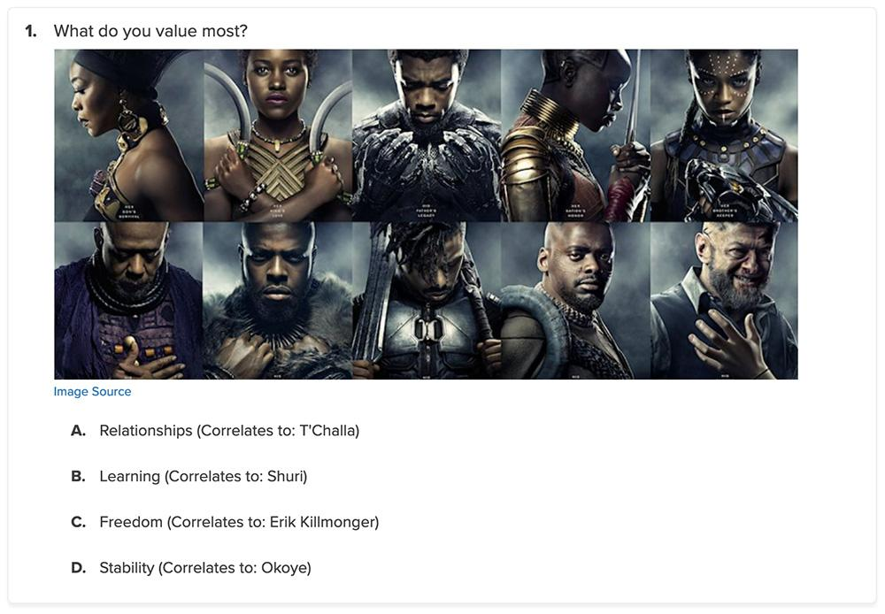 black panther characters and quiz question