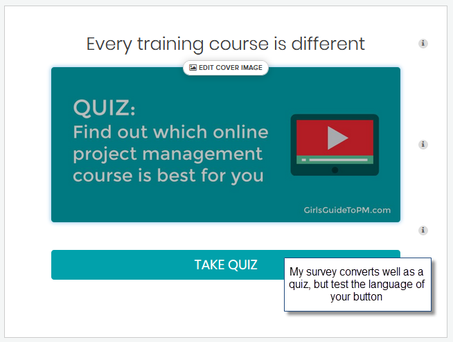 Project Management course quiz cover with description and CTA