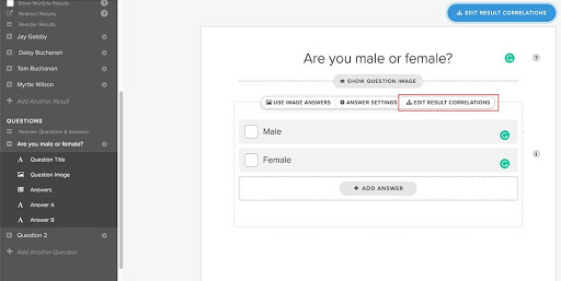 quiz builder with question are you male or female