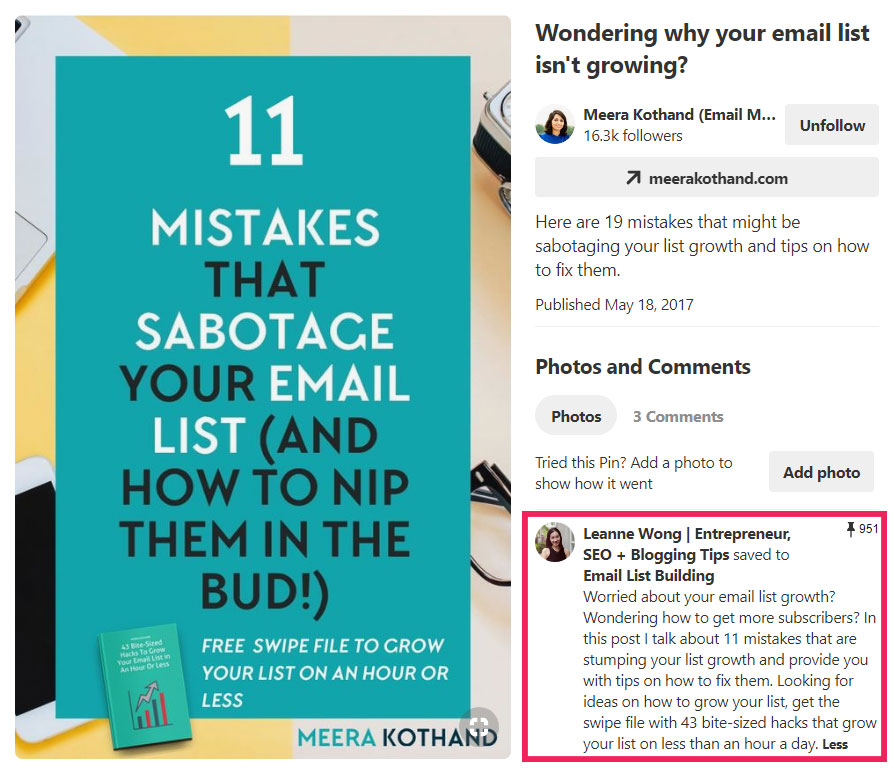 Meera Kothand pin with pin description highlighted to show how to write a good description