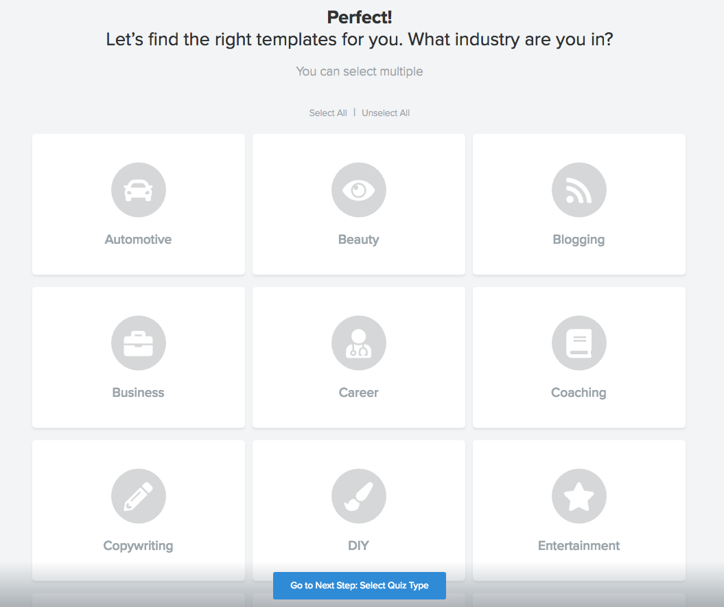Step in quiz editor where you choose which industry you are in