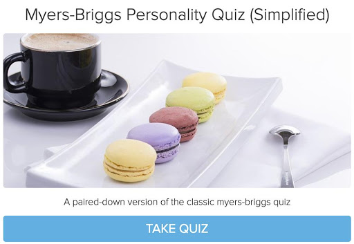 macarons and coffee cup in Myers-Briggs Personality quiz cover