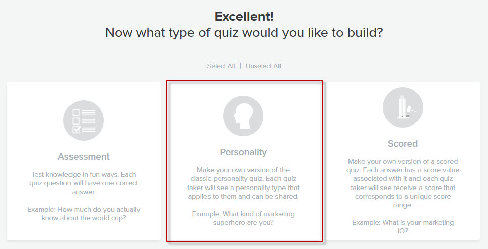 Quiz builder with Personality quiz selected