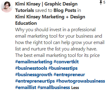 Pin description from Kimi Kinsey with hashtags
