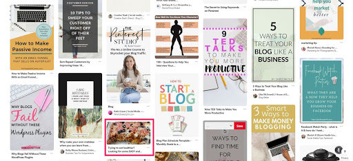 screenshot of Pinterest Smart Feed with highlighted horizontal pin