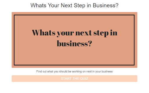 quiz cover with pink background and What's your next step in business