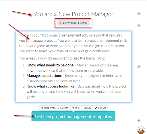 Quiz results with description and CTA for You are a New Project Manager