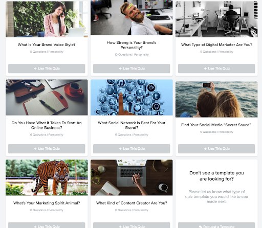 Thumbnails of the different quiz templates you can use with Interact Quiz builder