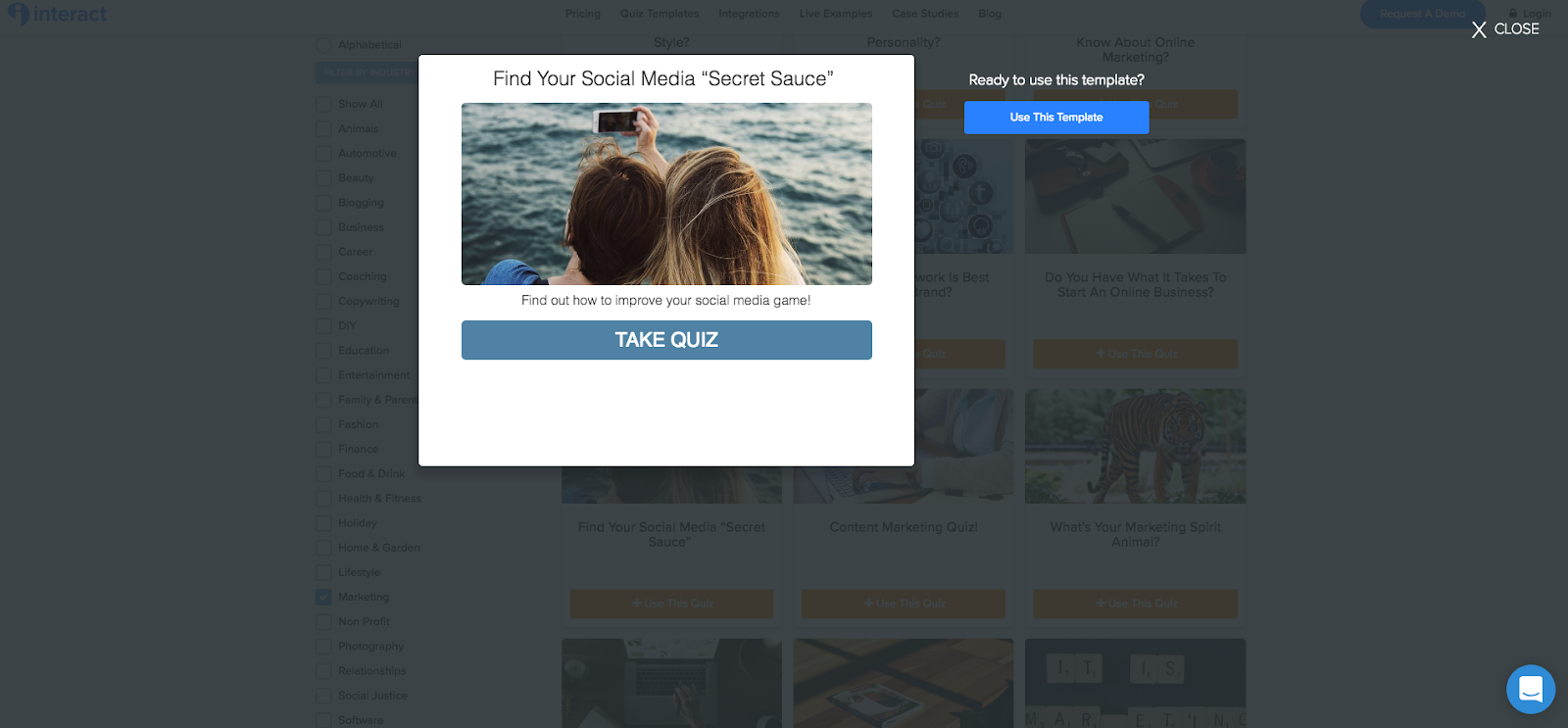 """two people taking a selfie and Find Your Media """"Secret Sauce"""" quiz template"""