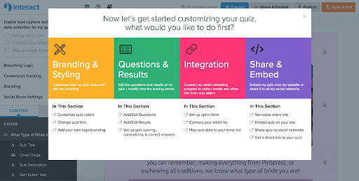 Interact quiz builder with steps of Style, Questions and results, integration, and share and embed to make quiz