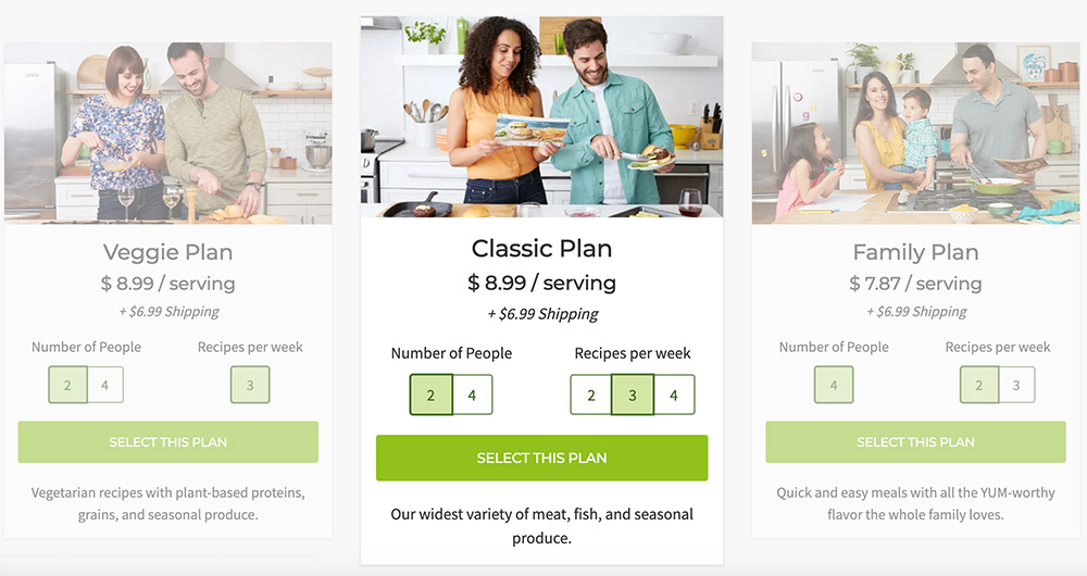 Hello Fresh three types of meal plans - Classic, Vegetarian, Family plan